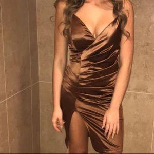 Dresses & Skirts - Beautiful Satin Dress with Slit Sz 6